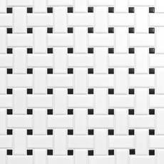 White and Black Basket Weave II Porcelain Mosaic