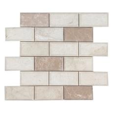 Avillano Beveled Ice Beige Brick Polished Marble Mosaic