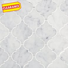 Clearance! Bianco Carrara Arabesque Marble Mosaic