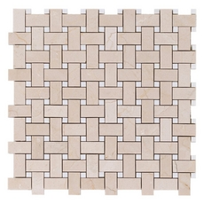Crema Marfil Basketweave Marble Mosaic
