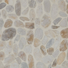 Flat White Honed Pebblestone Mosaic
