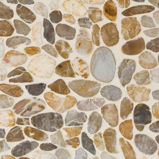 Flat Gold High Polished Pebblestone Mosaic