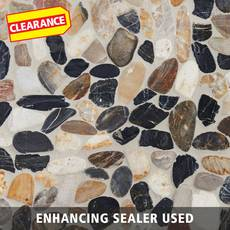 Clearance! Mixed Flat Polished Pebble Mosaic