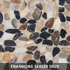 Mixed Flat Polished Pebble Mosaic