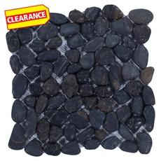 Clearance! Round Black Honed Pebblestone Mosaic