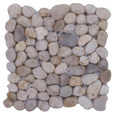 Round White Honed Pebblestone Mosaic