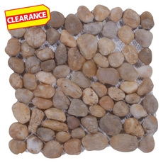 Clearance! Round Gold Honed Pebblestone Mosaic