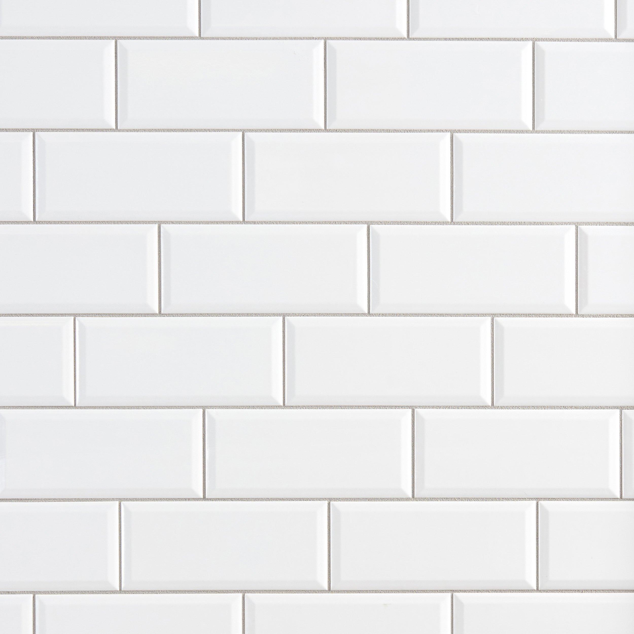 white beveled subway tile | Bright White Ice Beveled Ceramic Wall Tile - 3 x 6 ...