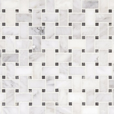Carrara White Basketweave Marble Mosaic