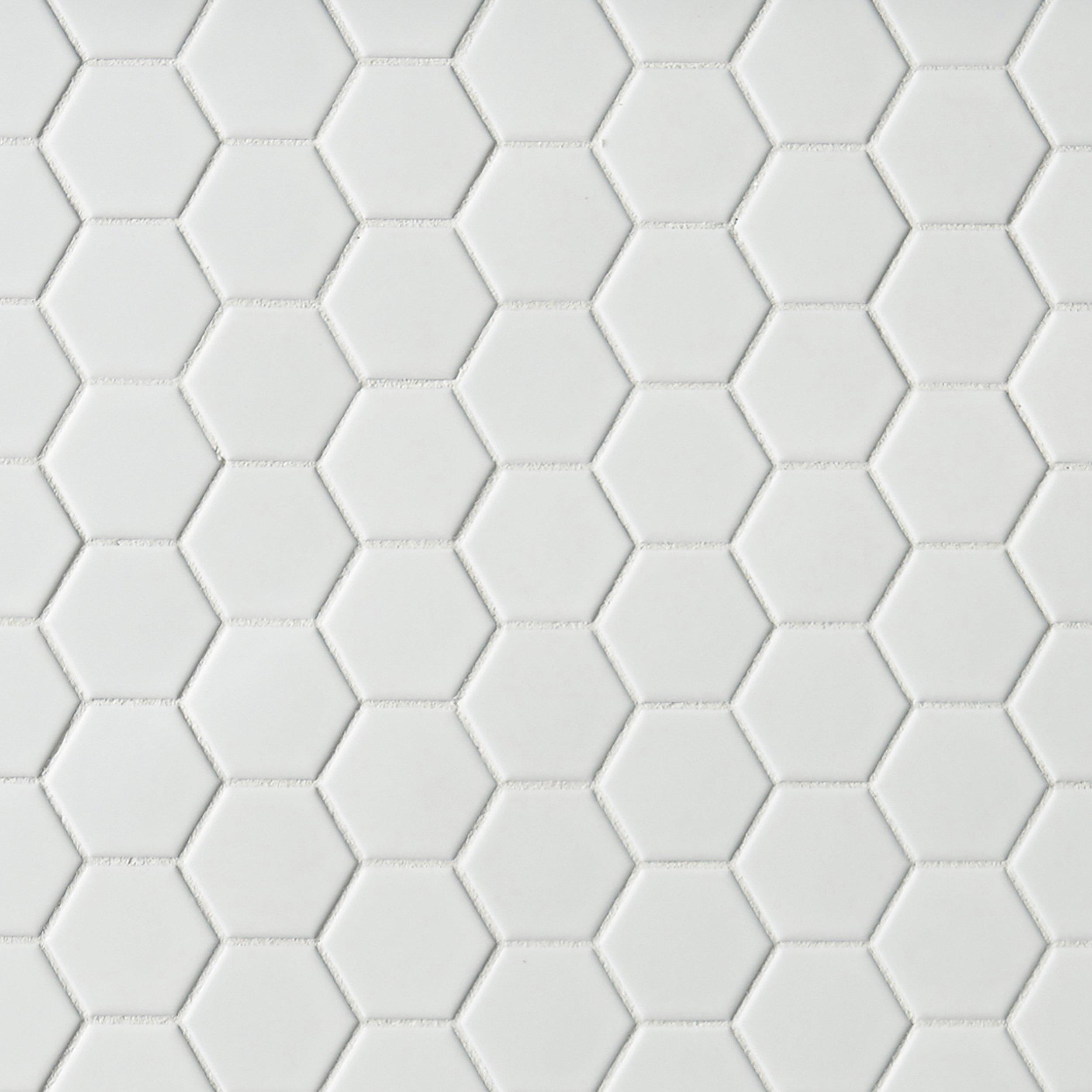 Metro White Matte Hexagon Porcelain Mosaic Decorative Mosaics Floor Decor