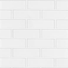 Snow 2 x 6 in. Brick Glass Mosaic