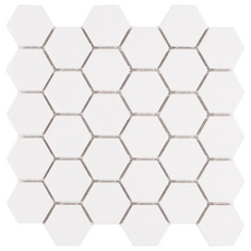 White Matte Hexagon Porcelain Mosaic