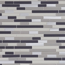 Montage Cascades Polished Linear Glass and Metal Mosaic