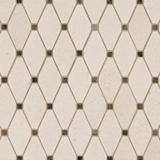 Serene Ivory Diamond Clip Limestone Mosaic