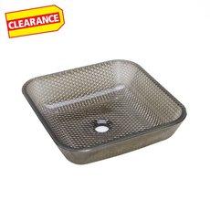 Clearance! Black Cubix Glass Vessel Sink