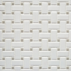 Matte Gray Dot Basketweave Porcelain Mosaic 100236223 on living room gray walls