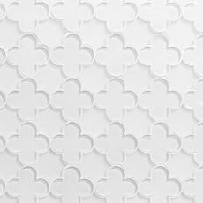 White Quatrefoil Water Jet Cut Glass Mosaic