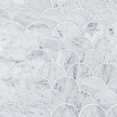 Carrara Fan Waterjet Marble Mosaic