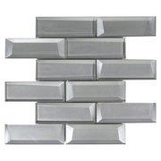 Broadway Silver 2 x 6 in. Brick Glass Mosaic