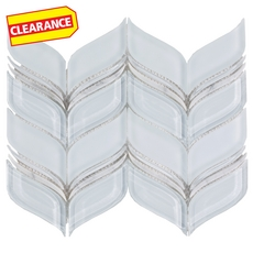 Clearance! Athena Wave Water Jet Cut Glass and Stone Mosaic