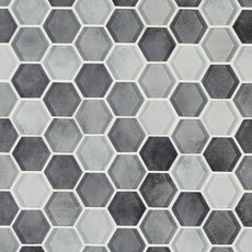 Fade To Black 2 in. Hexagon Polished Glass Mosaic