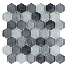Fade To Black Hexagon Polished Glass Mosaic