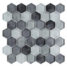 Montage Fade To Black Hexagon Polished Glass Mosaic