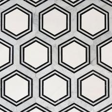 Carrara Thassos Hexagon Water Jet Cut Marble Mosaic 14 X