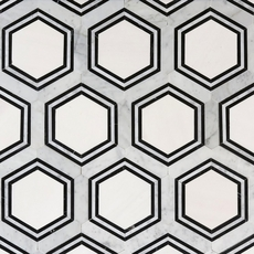 Carrara Thassos Hexagon Water Jet Cut Marble Mosaic