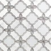 Fiore Carrara White Waterjet Marble and Glass Mosaic
