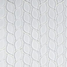 Winter Cloud Leaf Polished Glass Mosaic
