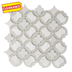 Clearance! Valentino Quatrefoil Water Jet Cut Glass Mosaic