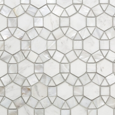 Carrara Circulos Water Jet Cut Mother of Pearl Marble Mosaic