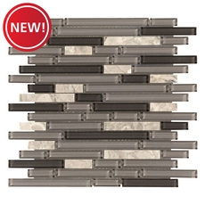 New! Festival Chelsea Gray Glossy Linear Grass Mosaic
