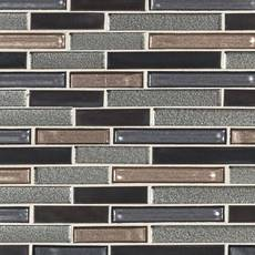 Liquid Titanium Linear Glass Mosaic
