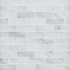 Carrara Print 1 x 3 in. Brick Glass Mosaic