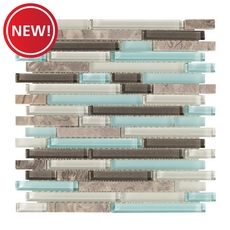 New! Montage Cerulean Blue Marble Linear Glass Mosaic