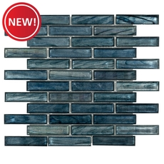 New! Montage Moody Blues Linear Glass Mosaic