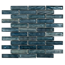 Montage Moody Blues Linear Glass Mosaic
