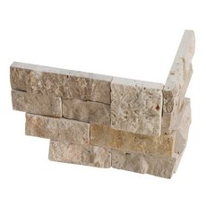 Roman Beige Splitface Travertine Corner Panel Ledger