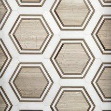 Thassos Valentino Framed Hexagon Marble Mosaic