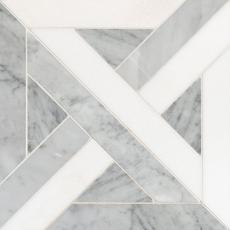 Bianco Carrara Thassos Parquet Polished Marble Mosaic