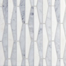 Thassos Bianco Parallels Polished Marble Mosaic 12 X 12
