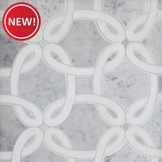 New! Bianco Carrara Thassos Whimsy Waterjet Marble Mosaic
