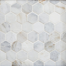 Bianco Orion Hexagon Polished Marble Mosaic 12 X 12