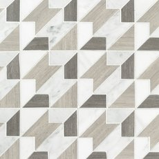 Houndstooth Carrara Blend Marble Mosaic