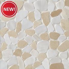 New! Cream and White Pebblestone Mosaic