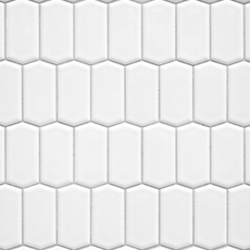 White Offset Picket Porcelain Mosaic
