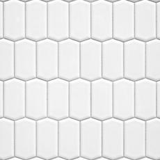White Offset Picket Porcelain Mosaic