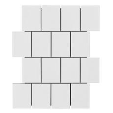 Canvas White Offset Shingle Porcelain Mosaic